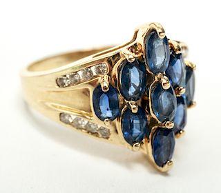 14K Gold Sapphires & Diamonds Cocktail Ring