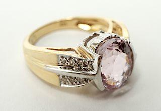 14K Gold Pink Topaz & Diamonds Cocktail Ring