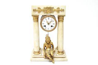 French Alabaster Gilt Bronze Portico Mantel Clock