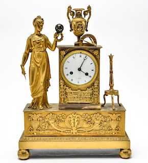 Neoclassical Gilt Bronze Figurative Mantel Clock