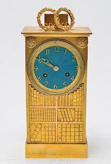 Neoclassical Gilt Bronze Books Motif Mantel Clock