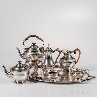 Six-piece Assembled English Sterling Silver Tea and Coffee Service