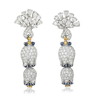 A Pair of Diamond Flower Day/Night Earclips