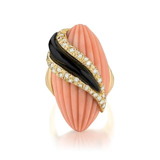 Andre Vassort Coral Onyx and Diamond Ring