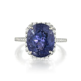 A 8.53-Carat Unheated Color Change Sapphire and Diamond Ring