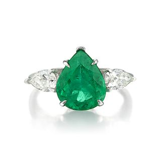 A 2.97-Carat Emerald and Diamond Ring