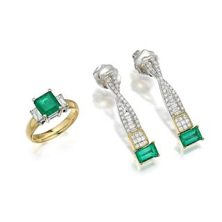 An Emerald and Diamond Ring and Earrings Set
