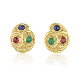 David Webb Sapphire Ruby and Emerald Earrings