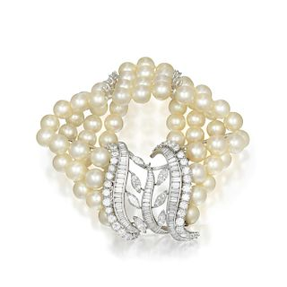 A Diamond and Cultured Pearl Multistrand Bracelet