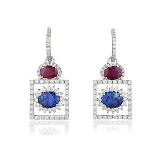 A Pair of Ruby Sapphire and Diamond Earrings