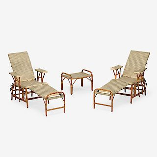 MAISON DRUCKER PAIR OF ADJUSTABLE LOUNGERS AND TABLE