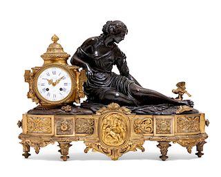A Louis XVI style figural bronze clock, Deniere