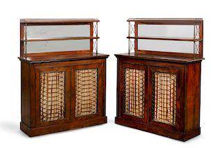 Pair of Regency style goncalo alves side cupboards