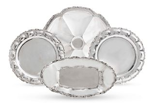 Four Mexican sterling silver table serving pieces