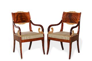 A pair of Baltic Neoclassical armchairs