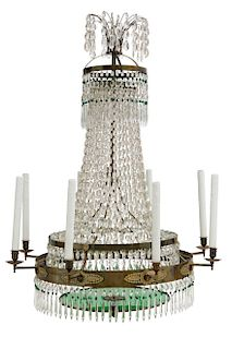 A Swedish Neoclassical eight light chandelier