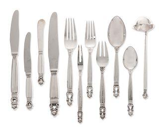 A Georg Jensen silver Acorn flatware set for twelve