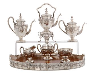 A Shreve silver seven piece tea and coffee set