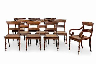 Ten Anglo-Indian exotic hardwood dining chairs