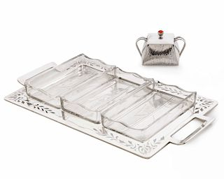 Austrian silver glass  tray,  Polish jam pot