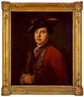 FRENCH & INDIAN WAR BRITISH OFFICER   BRITISH SCHOOL, 18TH CENTURY  Unknown British Infantry Officer, c. 1755  Oil on canvas, 30 x 2...
