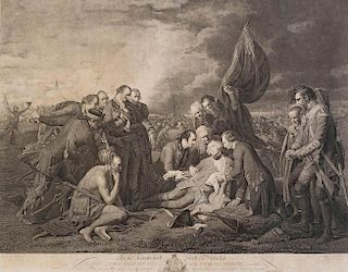 (DEATH OF WOLFE) WILLIAM WOOLLETT after BENJAMIN WEST  To the Kings Most Excellent Majesty.: This plate, The Death of General Wolfe,...