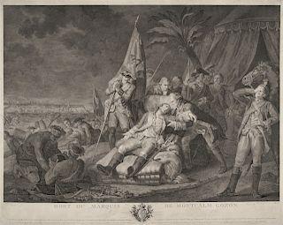 JUSTE CHEVILLET (1729-1790) after F.L.J. WATTEAU  Mort du Marquis de Montcalm Gozon (Death of the Marquis Montcalm)  Copperplate eng...