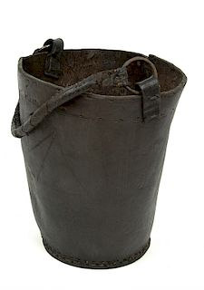 FIRE BUCKET FROM THE WRECK OF THE HMS INVINCIBLE (1758)   Leather water or fire bucket with original leather-covered, rope handle fr...