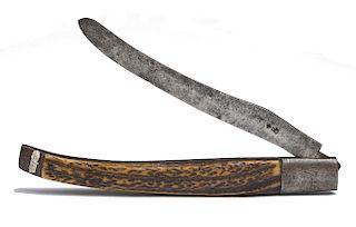 "MORAVIAN MISSIONARY JOHN JOSEPH (""SHEBOSH"") BULL'S 1746-DATED, CLASP OR FOLDING KNIFE   John Joseph Bull (1721-1788) was the son of ..."