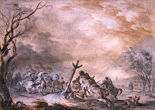 JEAN BAPTISTE LE PAON (c. 1736-c. 1785)  French Dragoons Attacking Prussian Hussars, circa 1756  Brown and grey watercolor wash, hei...