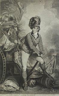JOHN RAPHAEL SMITH (1751-1812) after SIR JOSHUA REYNOLDS  Lt. Col. Tarleton  Mezzotint by John Raphael Smith, published 4 Oct. 1782,...