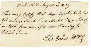 """BRANDING OF CONTINENTAL ARMY HORSES   Thomas Werkes, ADS, 1 p., 4 x 7.5 inches, dated """"Fish Kill [New York] August 3rd: 1779"""". Werke..."""