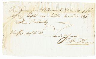 REVOLUTIONARY WAR 'US' BRANDED SADDLES   Samuel P. Jones, ADS, 1 p., 5 x 8 ½ inches, dated Hartford, Connecticut, 16 August 1780. Mi...