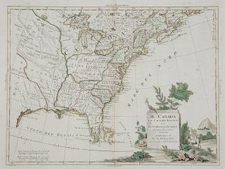 1778 MAP OF EASTERN NORTH AMERICA   ZATTA, ANTONIO. Il Canada, Le Colonie Inglesi con La Luigiana, e Florida. Double-page engraved m...