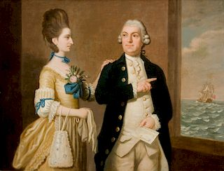 UNKNOWN ARTIST, BRITISH SCHOOL  A Royal Navy Officer Taking Leave of His Wife, c. 1774  oil on canvas, 27 x 36 inches, within carved...