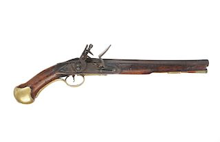 A FLINTLOCK TOWER PATTERN 1715/1778 SEA SERVICE PISTOL   Round, plain, smoothbore 12 in. L barrel of 0.58 caliber bore, with centere...