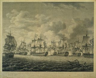 """1781 NAVAL BATTLE OF DOGGER BANK   [inscribed in legend below scene] """"To HYDE PARKER Esqr. VICE ADMIRAL of the BLUE SQUADRON of HIS ..."""