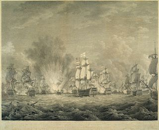 """1780 NAVAL BATTLE OF CAPE VINCENT   [inscribed in legend below scene] """"To Sr. G. B. RODNEY, Bart., ADML. of the WHITE & Kt. of the M..."""