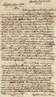 GOVERNOR JOHN HANCOCK GIVES NAVAL ORDERS, 1782  Hancock, John (1737-1793), President of the Continental Congress; Governor of Massac...