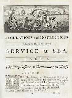 1772 REGULATIONS AND INSTRUCTIONS: THE BASIS FOR AMERICA'S FIRST NAVAL RULES   (British Admiralty Office). REGULATIONS AND INSTRUCTI...