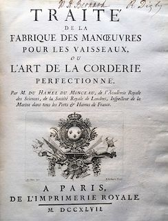 TREATISE ON THE CULTIVATION OF HEMP AND THE FABRICATION OF NAVAL CORDAGE, 1747   DUHAMEL DU MONCEAU, Henry Louis. Traité de la Fabri...