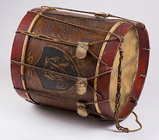 MID-18TH CENTURY BRITISH REGIMENTAL DRUM  With wooden shell painted with a dark blue (almost black) shield bearing the cipher 'IR' a...