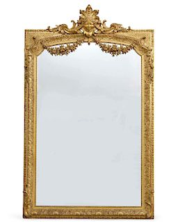 An imposing French carved giltwood & gesso mirror