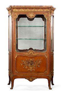 A French mahogany vitrine, poss Grohe