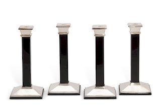 Four silver and black onyx candlesticks, Tiffany