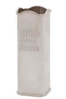A Theo Fennell sterling silver HP sauce sleeve