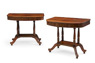 Pair of Anglo-Indian exotic hardwood side tables