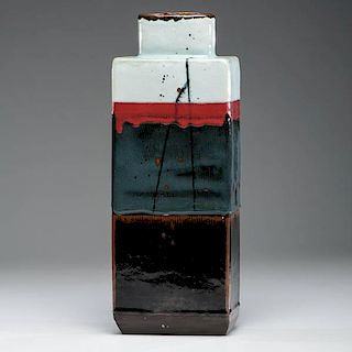 Albert Green (1914-1994; USA) Tall Red Blue and Brown Bottle