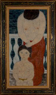 Fumiko Matsuda - Two Female figures, a young girl and an older woman