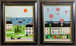 "Pair of Polly Bushong Folk Art Oils on Panel ""Whale Watching"" and ""Hot Air Balloon Race"""